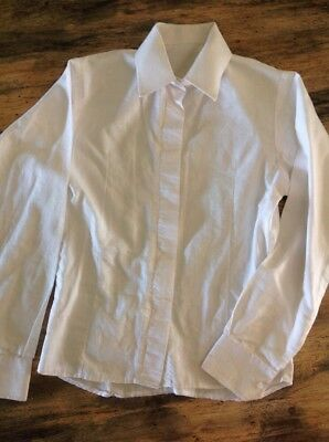 Child's Sz 6 White Show Shirt With Concealed Buttons EUC