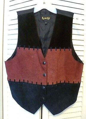 Womens Vintage Learsi Black Suede Steampunk Leather Cowboy Vest Costume Medium