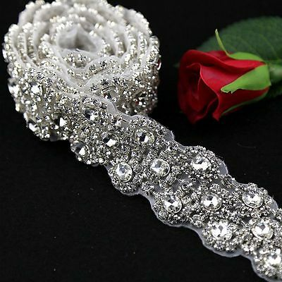 1 Yard Wedding bridal Rhinestone Applique Trim Crystal Sparkly Applique for Sash