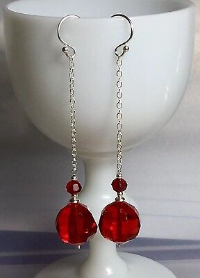 Vintage 1930's Red Faceted Glass Bead Solid Sterling Silver Earrings #734