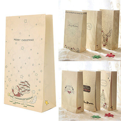 3 Pcs Kraft Paper Xmas Party Holiday Cookies Present Gift Bag Wedding Bags Fad