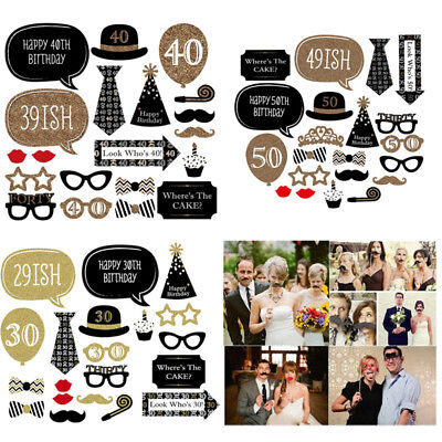 20PCS 30th 40th 50th 60th Happy Birthday Party Photo Booth Props Photography