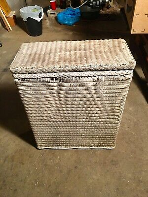 Antique Vintage Small White Wicker Clothes Hamper