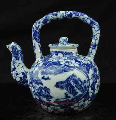 Fine china Blue and White Porcelain Hand Painted landscape painting teapot