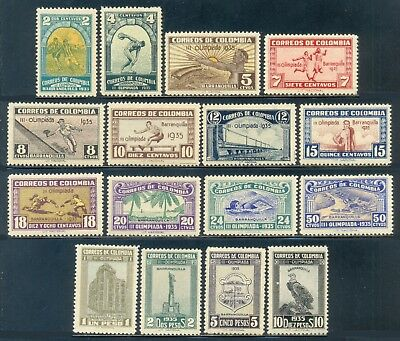 Colombia 1935, Difficult Set of 16 Stamps, Soccer, Baseball, SC 421/35, NH/LH
