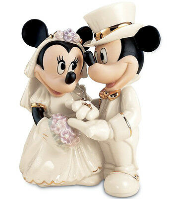 Lenox Disney Mickey Minnie's Dream Wedding Cake Topper Figure Bejeweled Ring New