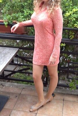 Midi elegant sexy coral pink peach lace dress with sleeves for wedding or prom