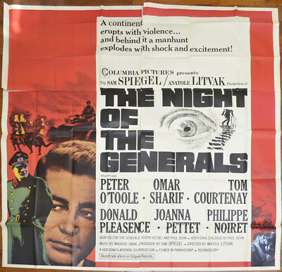 THE NIGHT OF THE GENERALS (1966) 6Sheet Film Poster - Peter O'Toole, Omar Sharif