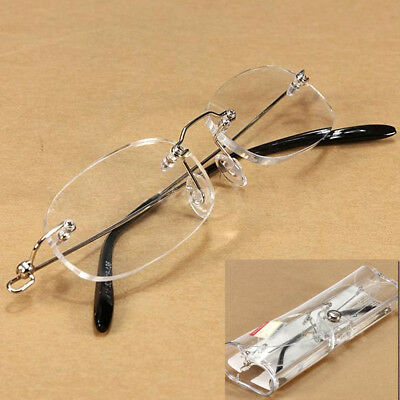 Unisex New Clear Rimless Eyeware Spectacles Eyeglasses Reading Glasses with Case