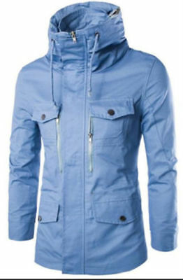 New Fashion Men's Slim Fit:Collar Solid 100% Cotton jacket Long Sleeve Coat 004