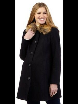 Red Herring Maternity Coat - Size 14 - Navy Wool Blend