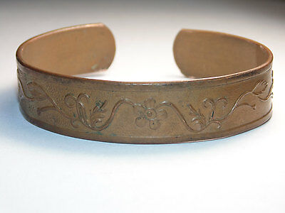 Antique 1920s Vintage Art Nouveau Ornate French Copper Cuff Flowers Bracelet