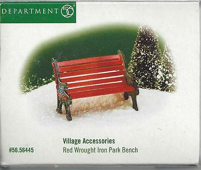Department 56 Original Snow Village-Red Wrought Park Bench-NIB