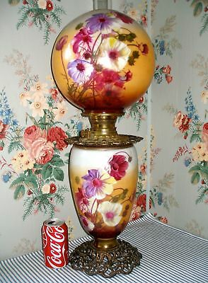 Antique VICTORIAN Gone with the Wind COSMOS Banquet Parlour Oil kerosene lamp