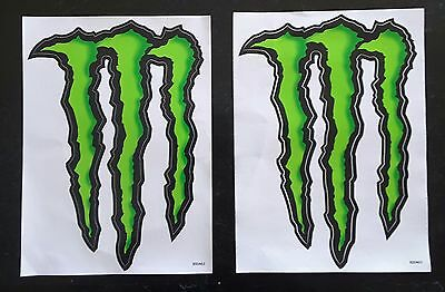 (2) Monster Energy Logo Stickers Decal Nascar UFC 6inW x 9in H