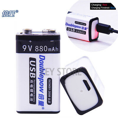 9000mWh PP3 9V lithium Li-ion Rechargeable Battery USB charger 9v Batteries 6F22