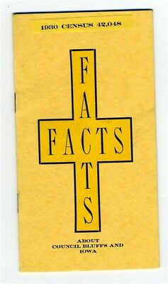 1930's Illustrated Booklet Facts About Council Bluffs and Iowa