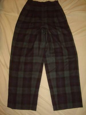 Vintage 80s Burberry Green Plaid High Waist Pleated Pants 100% Wool Made in USA!