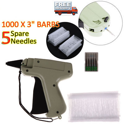 "Clothes Garment Price Label Tagging Tag Gun 3""1000 Barbs + 5 Needles CA STOCK"