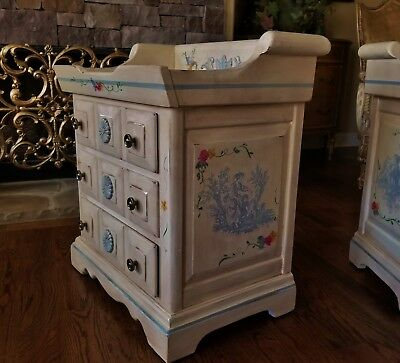VTG LINK TAYLOR SLATE NIGHTSTAND TABLE DRY SINK HAND PAINTED FRENCH COTTAGE 1of2