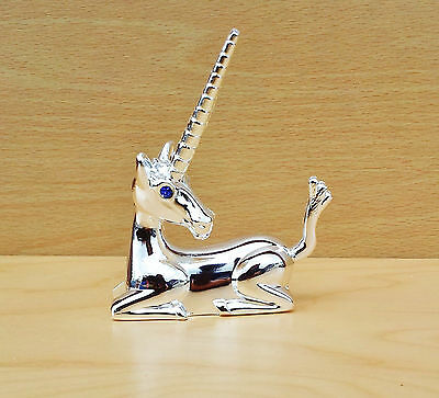 Unicorn Ring Minder Holder with Blue Eyes, Silver Tone Metal Non Tarnish