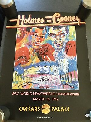 Larry Holmes Vs Gerry Cooney 1982 Leroy Nieman Poster - Signed By All 3 (PSADNA)