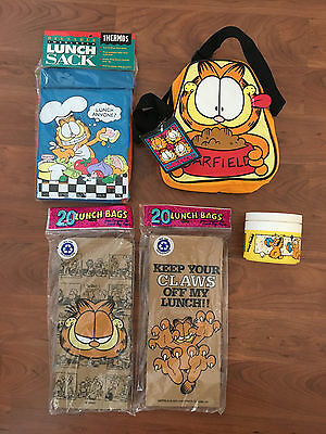 Garfield Lunch Bags (New) Plus Vintage Soup Thermos (Used)