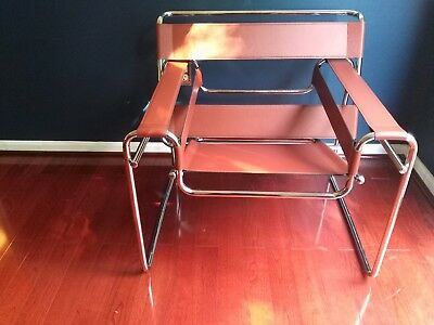 Wassily Chair - Mid century style lounge chair - Breuer/knoll -Leather Chrome