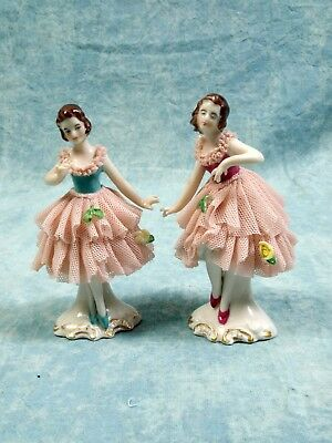 Vintage Germany Dresden Ballerina Figurines Porcelain Lace Gown