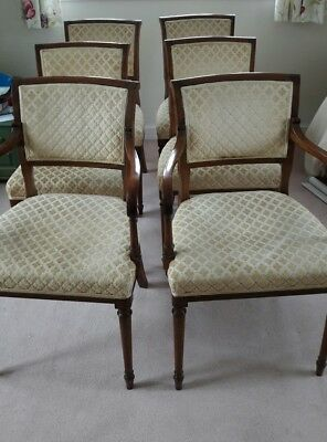 Set Of Six Mahogany Vintage Regency Style Dining Chairs