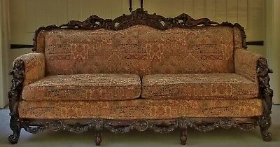 Very Rare Antique Sofa Carved Accordion Players Lions Roses Hunzinger Herter