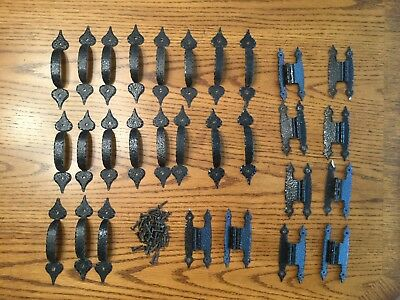 19 Vintage Black Hammered Metal Cabinet Door Pulls Handles + hinges & screws
