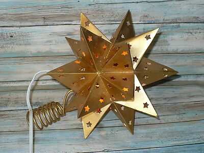 Golden Metal Star Lighted CHRISTMAS TREE TOPPER Primitive 3-D Switch on 6' Cord