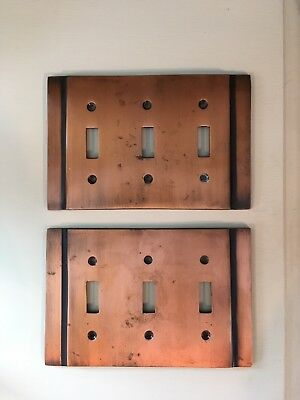 Lot Of 2 Vintage Copper Switch Plate Covers