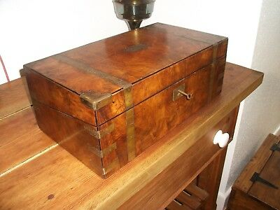 Antique Victorian Writing Slope Hidden Secret Drawer Walnut Brass Bound Lock Key