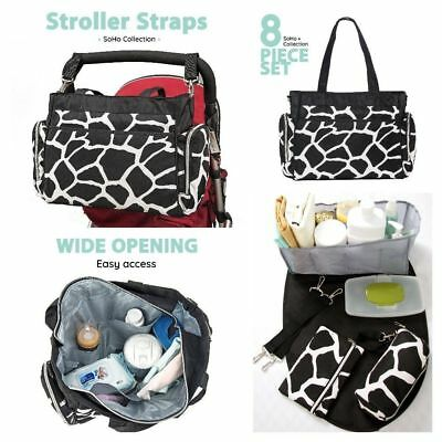 9 Pieces Diaper Bag Set Mom Baby Shower Boy With Changing Pad Travel Infant Kids