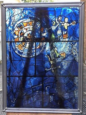 Beautiful Chagall Leaded Glass Window Hanging Repro From Chicago Art Institute