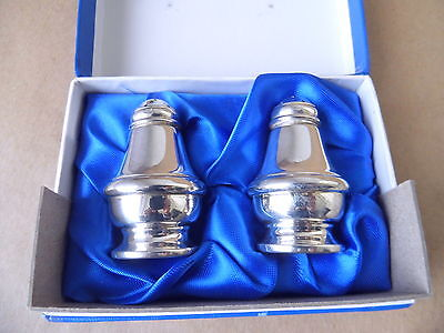 Lovely Pair Vintage Sterling Silver Pepper Pots 1990, Boxed #1