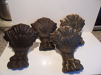 Outstanding Set Of Four Vintage Cast Iron Lions Claw Feet