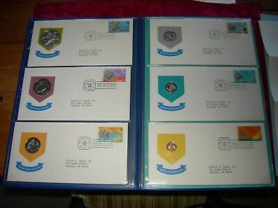 1973 British Virgin Islands Official Proof Set W 6 Fdcs And 6 Coins +1 Oz.silver