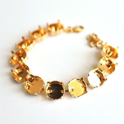 12mm Rivoli Empty Cup Chain 11 Cup Bracelet, Gold Plated Fits  1122