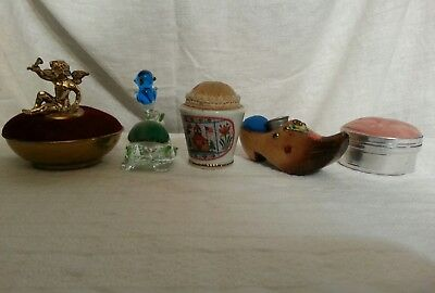 Lot Of 5 Old Vintage Antique Pin Cushions Cupid Mirror Birds Fish Brass Thimbles