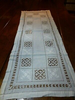 """Vintage Antique Hand DRAWN THREAD Work Lace Table Runner 49 x 18"""" For Crafts"""