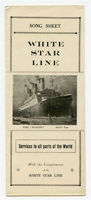 White Star Line Song Sheet RMS Majestic Cover 1920's