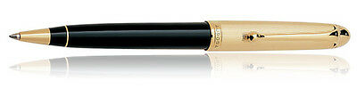 Aurora 831 Gold Plated Cap/ Black Barrel Ballpoint Pen ~New in Box