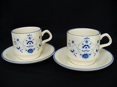 Vintage Rare Carrigaline Pottery Cups and Saucers Blue Flowers x2 1960's-1970's