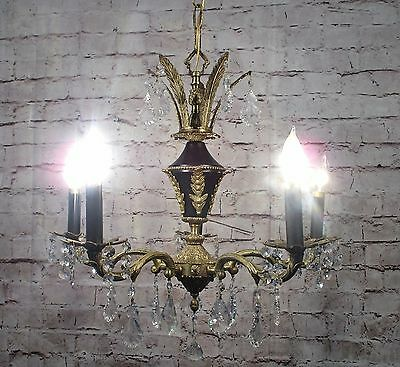 Antique Vintage Chandelier French Empire Bronze 5 Light Fixture Crystal Restored