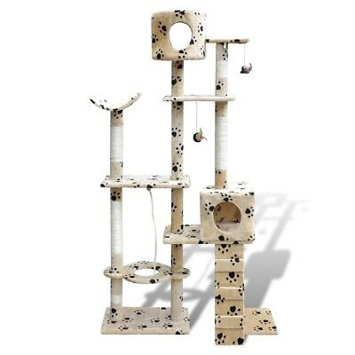 s#Arbre à chat en beige avec motif d'empreinte de patte 175 cm2 niches