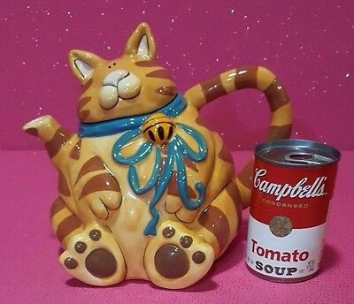 Blue Sky Clayworks *tabby Cat With Bell* Plump Orange Cat Teapot By Goldminc New