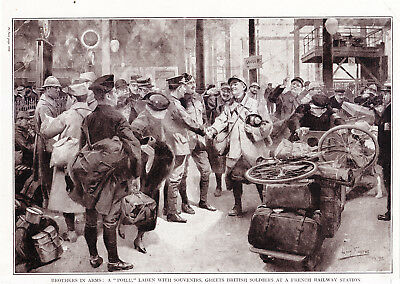 "World War 1, Brothers in Arms, ""Poilu"" Greets British Soldiers"